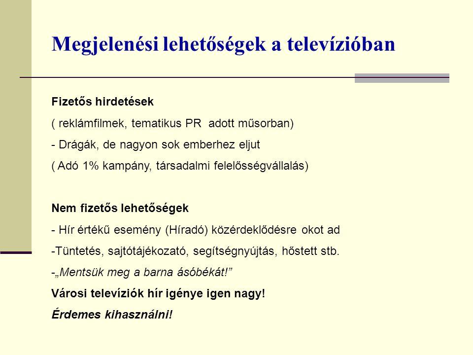 Megjelenési lehetőségek a televízióban Fizetős hirdetések ( reklámfilmek, tematikus PR adott műsorban) - Drágák, de nagyon sok emberhez eljut ( Adó 1%