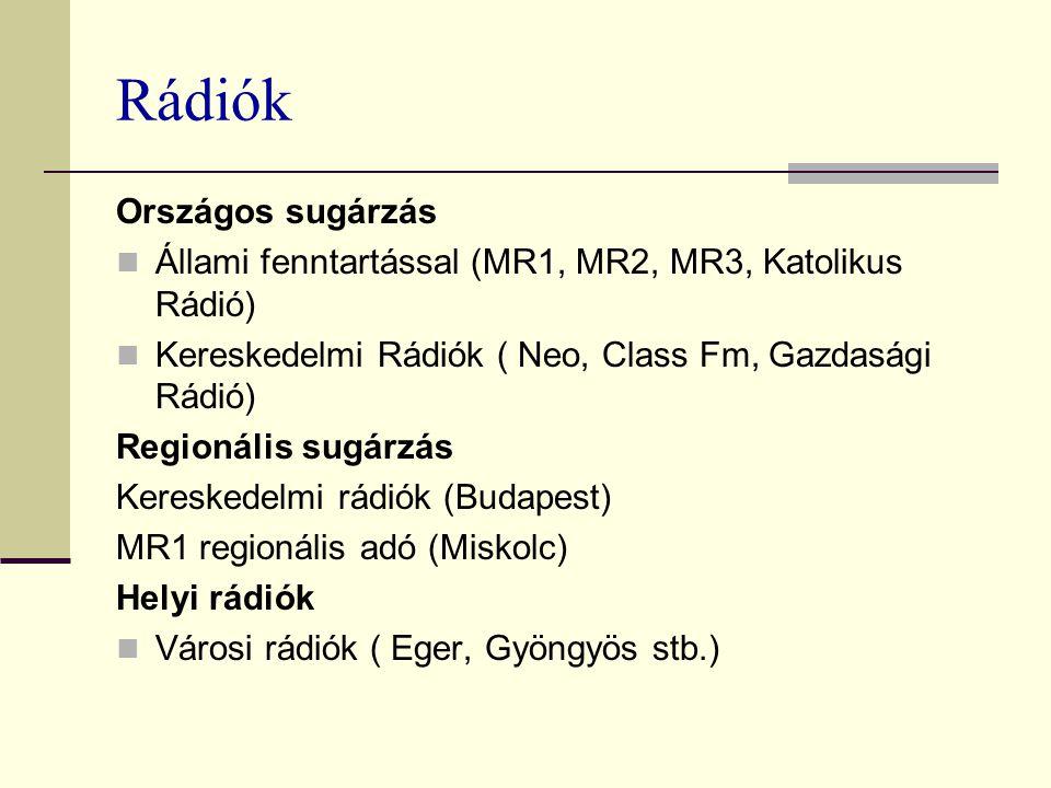 Rádiók Országos sugárzás Állami fenntartással (MR1, MR2, MR3, Katolikus Rádió) Kereskedelmi Rádiók ( Neo, Class Fm, Gazdasági Rádió) Regionális sugárzás Kereskedelmi rádiók (Budapest) MR1 regionális adó (Miskolc) Helyi rádiók Városi rádiók ( Eger, Gyöngyös stb.)