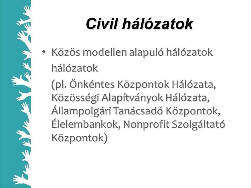 Civil hálózatok Közös modellen alapuló hálózatok Közös modellen alapuló hálózatokhálózatok (pl. Önkéntes Központok Hálózata, Közösségi Alapítványok Há