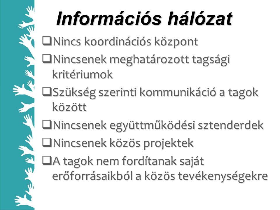 Információs hálózat  Nincs koordinációs központ  Nincsenek meghatározott tagsági kritériumok  Szükség szerinti kommunikáció a tagok között  Nincsenek együttműködési sztenderdek  Nincsenek közös projektek  A tagok nem fordítanak saját erőforrásaikból a közös tevékenységekre