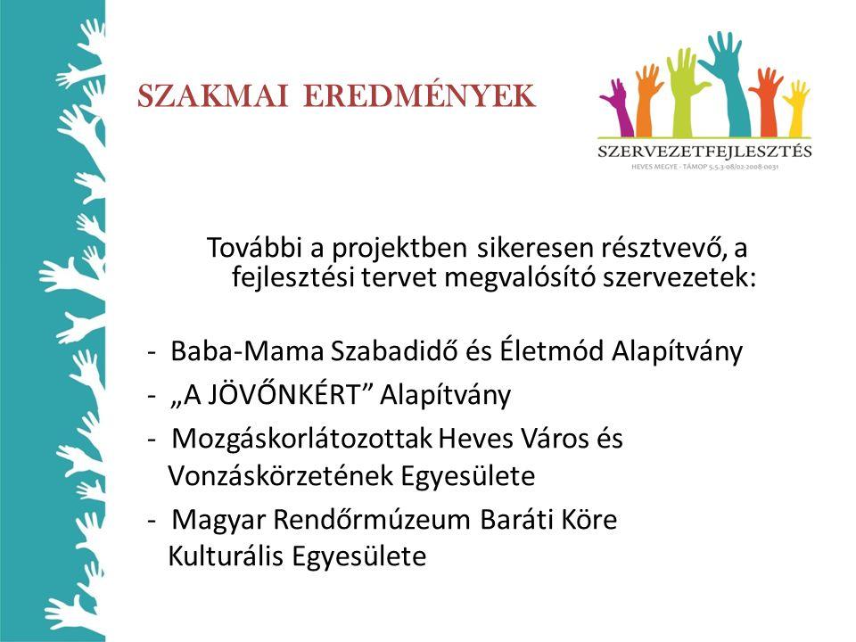 """SZAKMAI EREDMÉNYEK További a projektben sikeresen résztvevő, a fejlesztési tervet megvalósító szervezetek: - Baba-Mama Szabadidő és Életmód Alapítvány - """"A JÖVŐNKÉRT Alapítvány - Mozgáskorlátozottak Heves Város és Vonzáskörzetének Egyesülete - Magyar Rendőrmúzeum Baráti Köre Kulturális Egyesülete"""