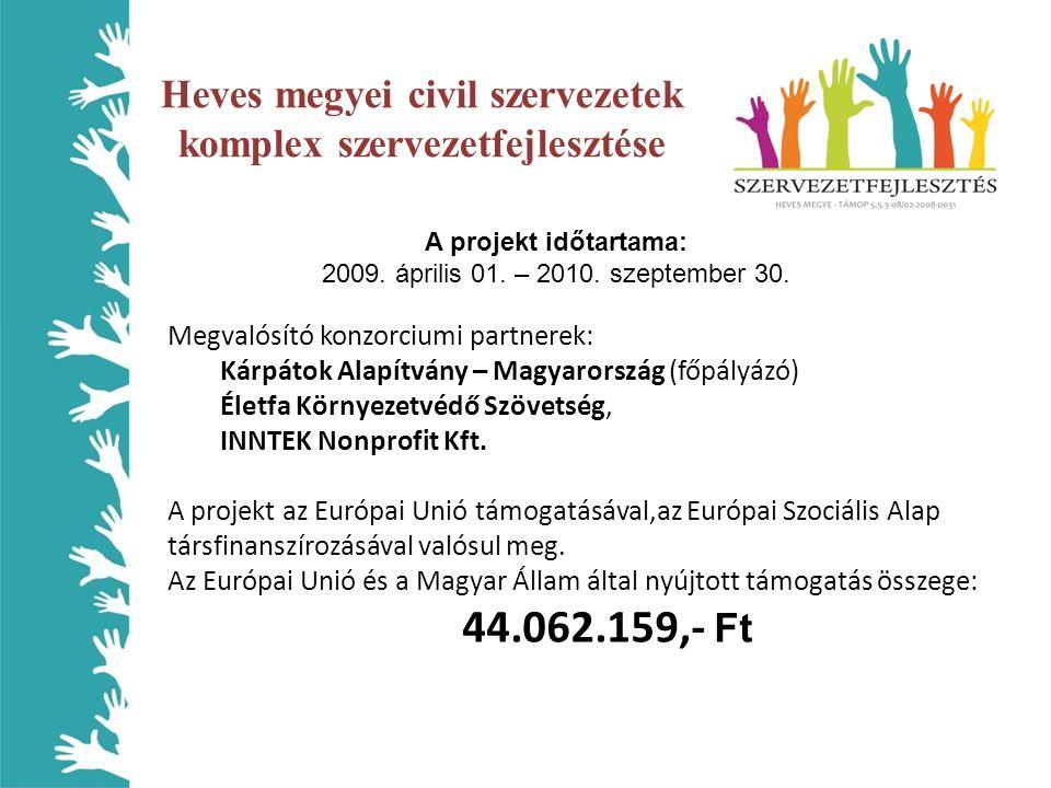 A projekt időtartama: 2009. április 01. – 2010. szeptember 30. Megvalósító konzorciumi partnerek: Kárpátok Alapítvány – Magyarország (főpályázó) Életf