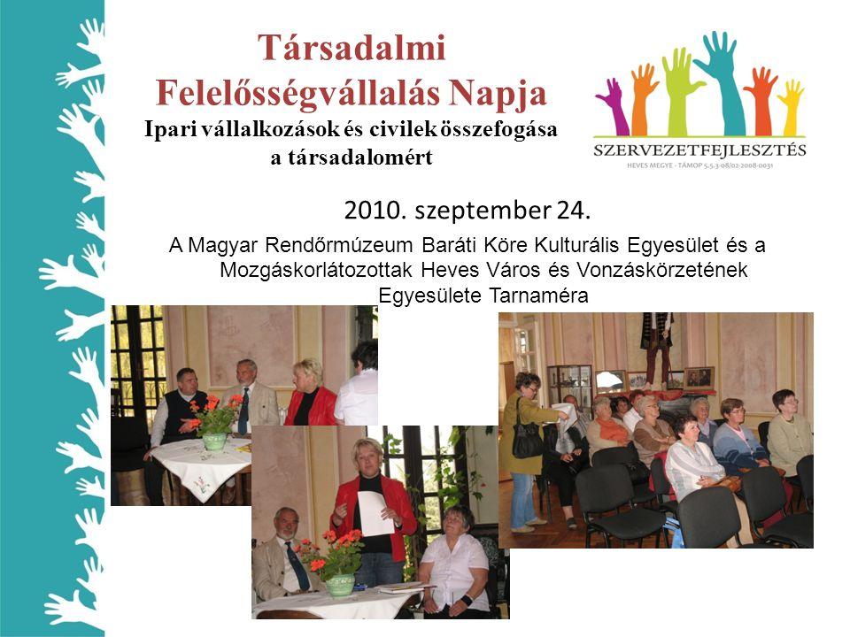 Társadalmi Felelősségvállalás Napja Ipari vállalkozások és civilek összefogása a társadalomért 2010. szeptember 24. A Magyar Rendőrmúzeum Baráti Köre