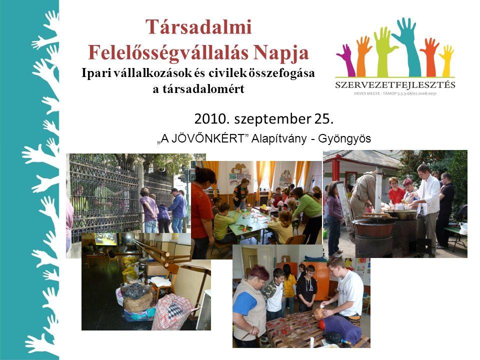 Társadalmi Felelősségvállalás Napja Ipari vállalkozások és civilek összefogása a társadalomért 2010.