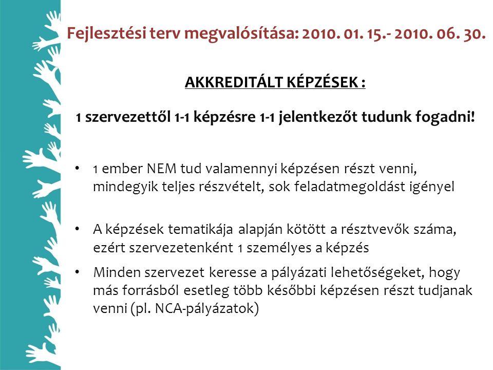 Fejlesztési terv megvalósítása: 2010. 01. 15.- 2010.