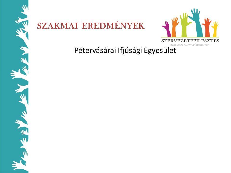 SZAKMAI EREDMÉNYEK Pétervásárai Ifjúsági Egyesület