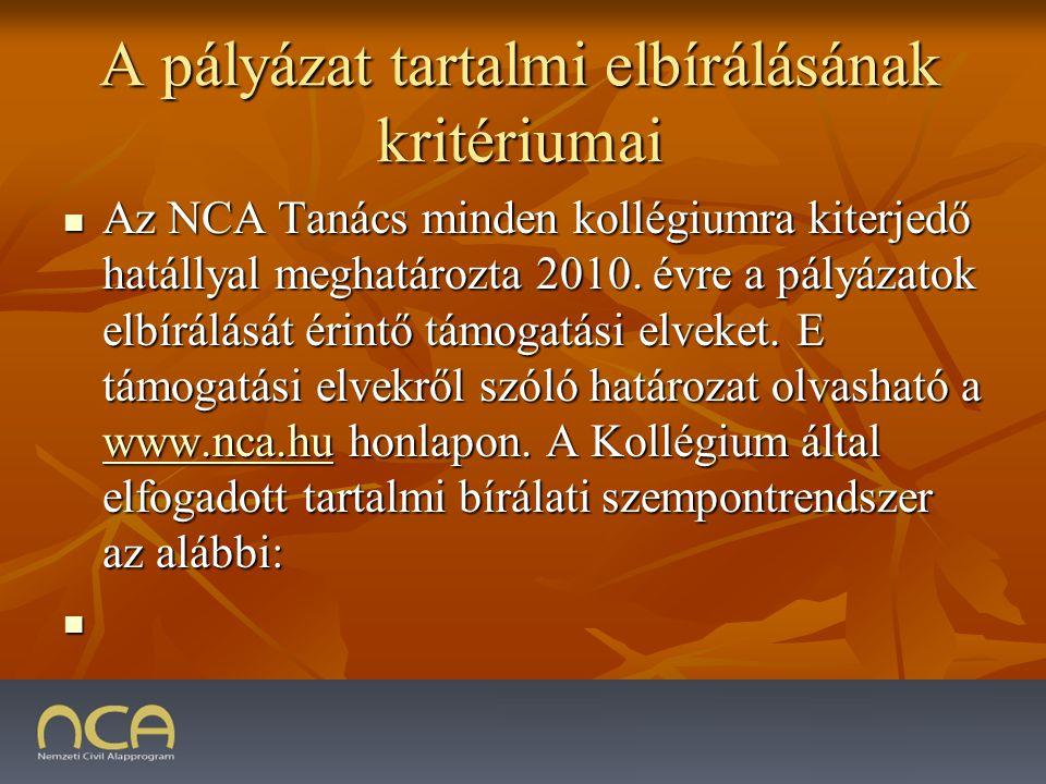 A pályázat tartalmi elbírálásának kritériumai Az NCA Tanács minden kollégiumra kiterjedő hatállyal meghatározta 2010.