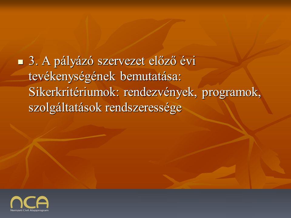3. A pályázó szervezet előző évi tevékenységének bemutatása: Sikerkritériumok: rendezvények, programok, szolgáltatások rendszeressége 3. A pályázó sze