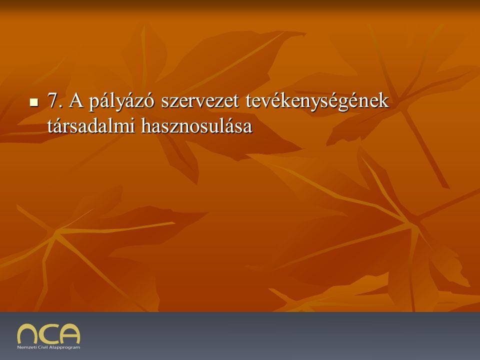 7. A pályázó szervezet tevékenységének társadalmi hasznosulása 7.