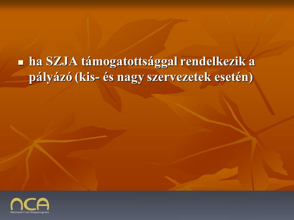 ha SZJA támogatottsággal rendelkezik a pályázó (kis- és nagy szervezetek esetén) ha SZJA támogatottsággal rendelkezik a pályázó (kis- és nagy szervezetek esetén) 2009.01.23.39