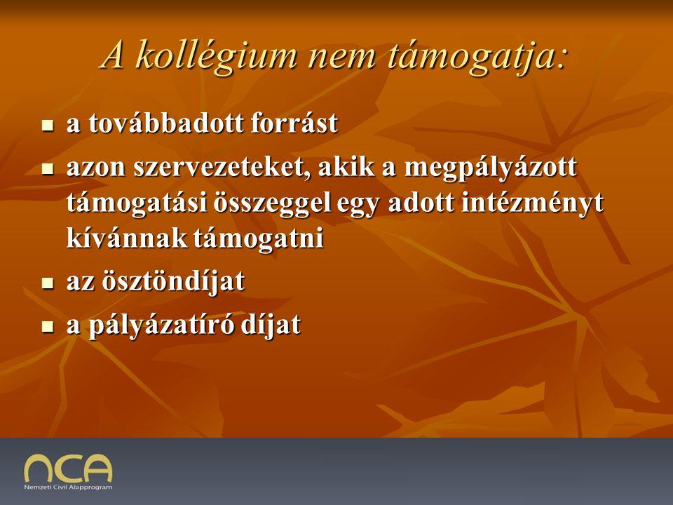 A kollégium nem támogatja: a továbbadott forrást a továbbadott forrást azon szervezeteket, akik a megpályázott támogatási összeggel egy adott intézményt kívánnak támogatni azon szervezeteket, akik a megpályázott támogatási összeggel egy adott intézményt kívánnak támogatni az ösztöndíjat az ösztöndíjat a pályázatíró díjat a pályázatíró díjat 2009.01.23.45