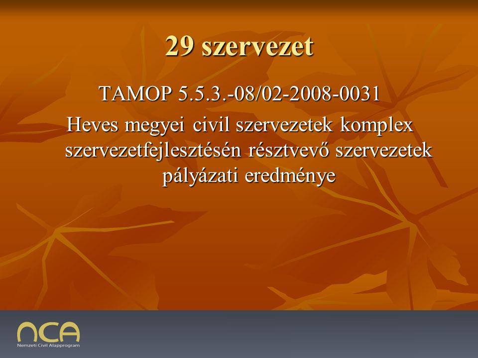 29 szervezet TAMOP 5.5.3.-08/02-2008-0031 Heves megyei civil szervezetek komplex szervezetfejlesztésén résztvevő szervezetek pályázati eredménye
