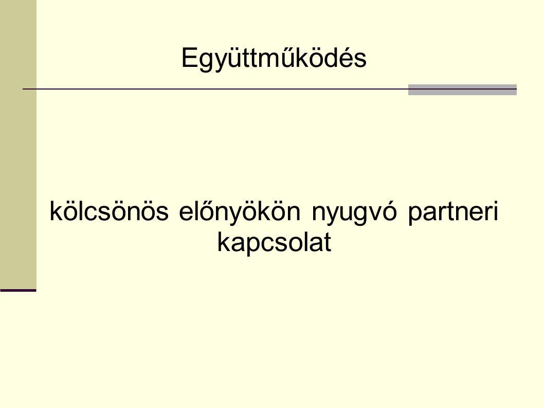 Együttműködés kölcsönös előnyökön nyugvó partneri kapcsolat