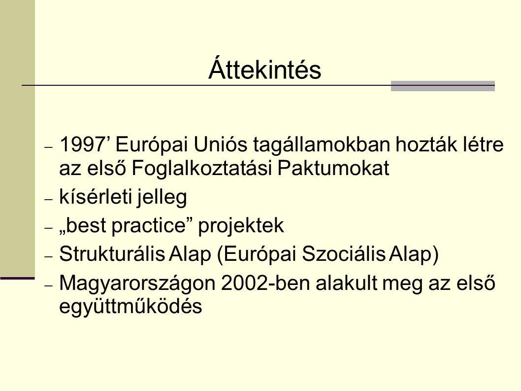 """Áttekintés  1997' Európai Uniós tagállamokban hozták létre az első Foglalkoztatási Paktumokat  kísérleti jelleg  """"best practice projektek  Strukturális Alap (Európai Szociális Alap)  Magyarországon 2002-ben alakult meg az első együttműködés"""