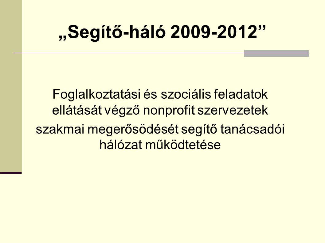 """""""Segítő-háló 2009-2012 Foglalkoztatási és szociális feladatok ellátását végző nonprofit szervezetek szakmai megerősödését segítő tanácsadói hálózat működtetése"""