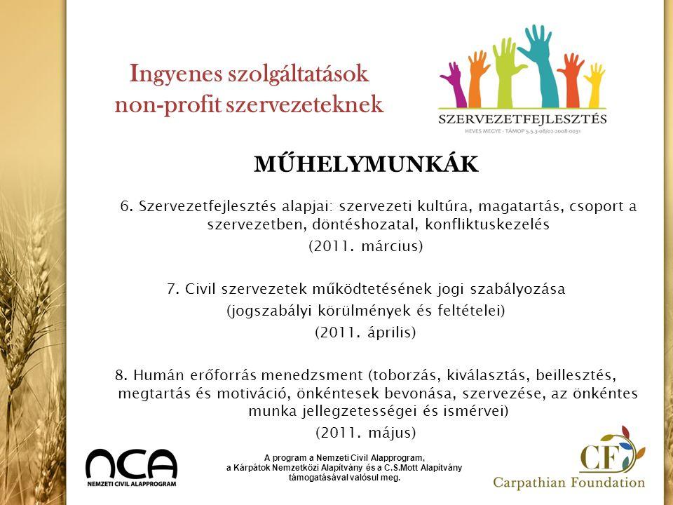 Ingyenes szolgáltatások non-profit szervezeteknek MŰHELYMUNKÁK 6. Szervezetfejlesztés alapjai: szervezeti kultúra, magatartás, csoport a szervezetben,