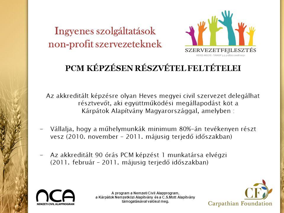 Ingyenes szolgáltatások non-profit szervezeteknek PCM KÉPZÉSEN RÉSZVÉTEL FELTÉTELEI Az akkreditált képzésre olyan Heves megyei civil szervezet delegál