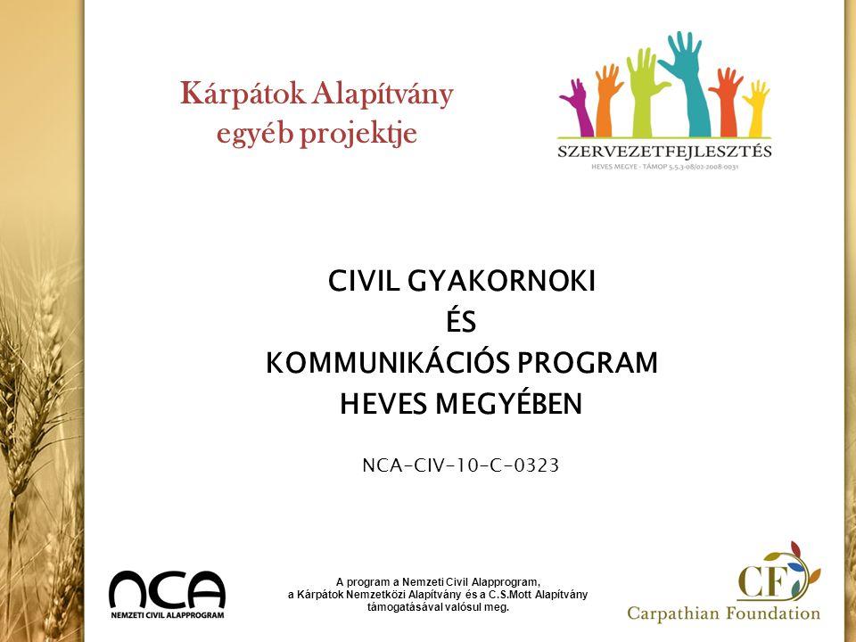 Kárpátok Alapítvány egyéb projektje CIVIL GYAKORNOKI ÉS KOMMUNIKÁCIÓS PROGRAM HEVES MEGYÉBEN NCA-CIV-10-C-0323 A program a Nemzeti Civil Alapprogram,