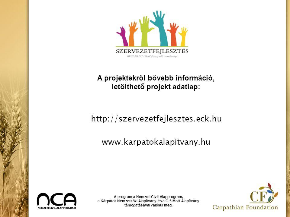 http://szervezetfejlesztes.eck.hu www.karpatokalapitvany.hu A program a Nemzeti Civil Alapprogram, a Kárpátok Nemzetközi Alapítvány és a C.S.Mott Alap