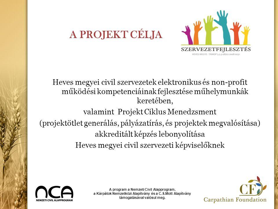 A PROJEKT CÉLJA Heves megyei civil szervezetek elektronikus és non-profit működési kompetenciáinak fejlesztése műhelymunkák keretében, valamint Projek