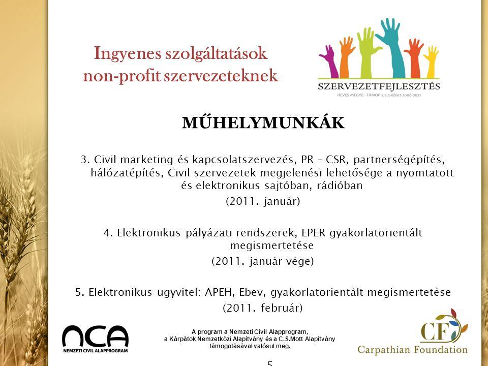 Ingyenes szolgáltatások non-profit szervezeteknek MŰHELYMUNKÁK 3. Civil marketing és kapcsolatszervezés, PR – CSR, partnerségépítés, hálózatépítés, Ci