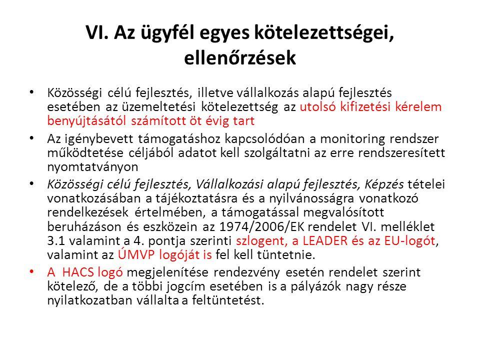 VI. Az ügyfél egyes kötelezettségei, ellenőrzések Közösségi célú fejlesztés, illetve vállalkozás alapú fejlesztés esetében az üzemeltetési kötelezetts