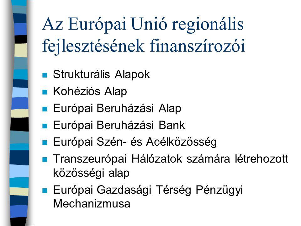 Az Európai Unió regionális fejlesztésének finanszírozói n Strukturális Alapok n Kohéziós Alap n Európai Beruházási Alap n Európai Beruházási Bank n Európai Szén- és Acélközösség n Transzeurópai Hálózatok számára létrehozott közösségi alap n Európai Gazdasági Térség Pénzügyi Mechanizmusa