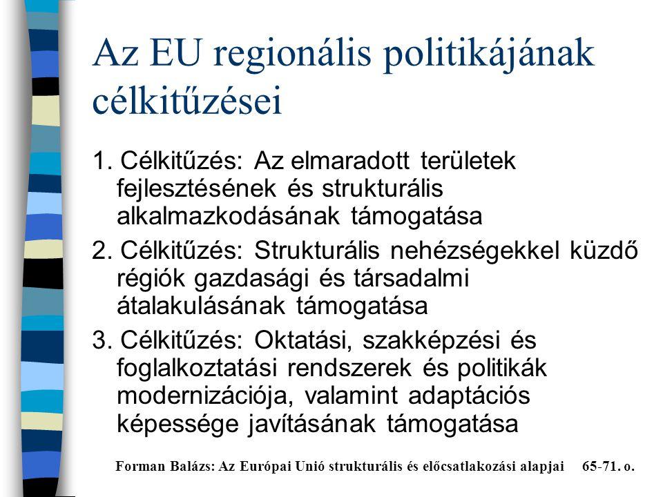 Az EU regionális politikájának célkitűzései 1.