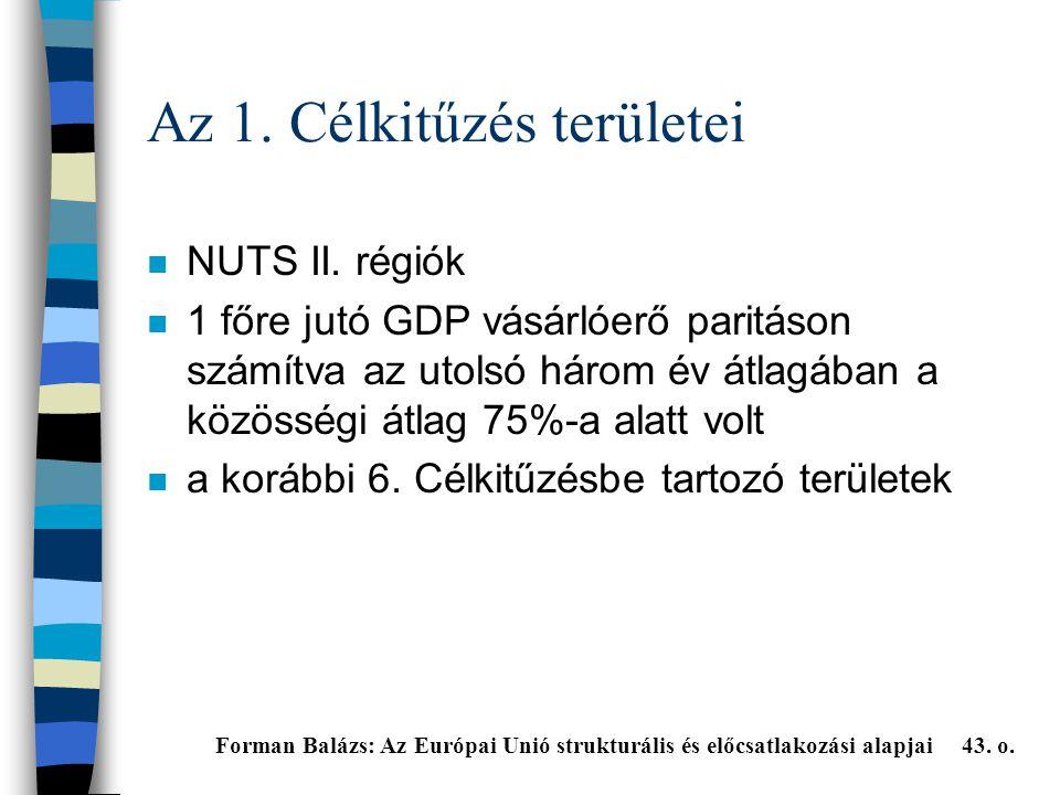 Az 1.Célkitűzés területei n NUTS II.