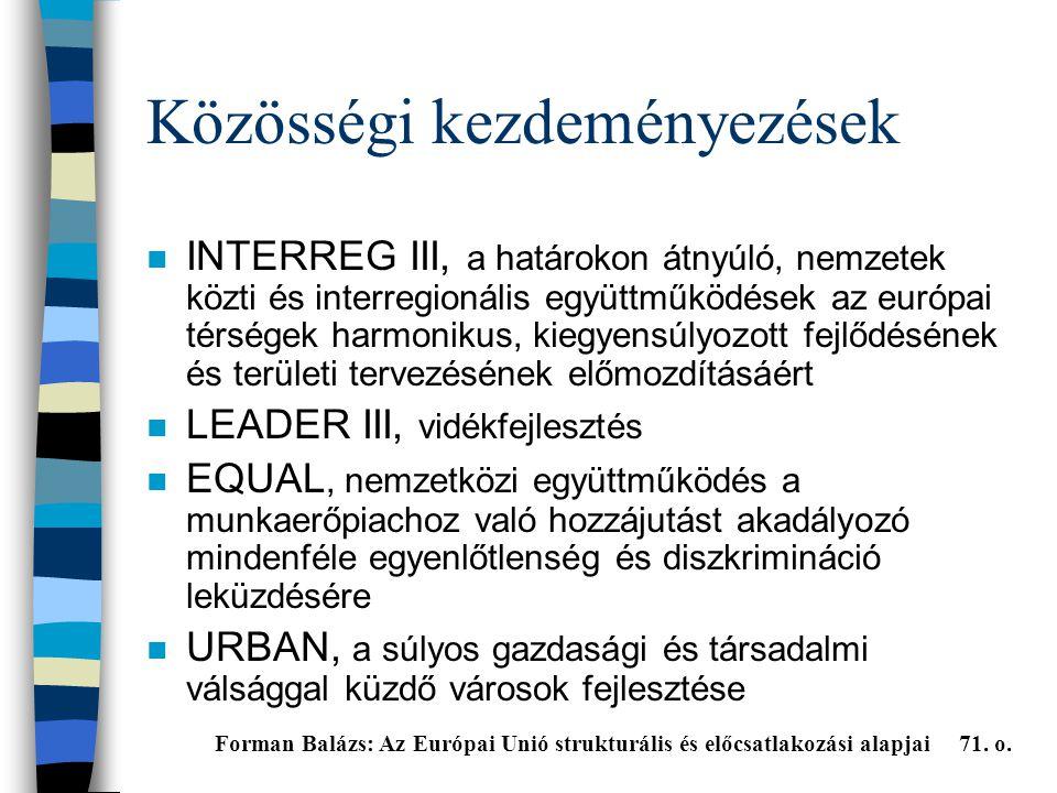 Közösségi kezdeményezések n INTERREG III, a határokon átnyúló, nemzetek közti és interregionális együttműködések az európai térségek harmonikus, kiegyensúlyozott fejlődésének és területi tervezésének előmozdításáért n LEADER III, vidékfejlesztés n EQUAL, nemzetközi együttműködés a munkaerőpiachoz való hozzájutást akadályozó mindenféle egyenlőtlenség és diszkrimináció leküzdésére n URBAN, a súlyos gazdasági és társadalmi válsággal küzdő városok fejlesztése Forman Balázs: Az Európai Unió strukturális és előcsatlakozási alapjai 71.