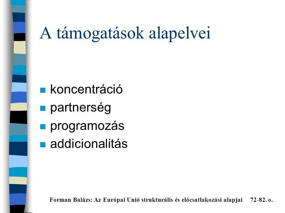 A támogatások alapelvei n koncentráció n partnerség n programozás n addicionalitás Forman Balázs: Az Európai Unió strukturális és előcsatlakozási alapjai 72-82.