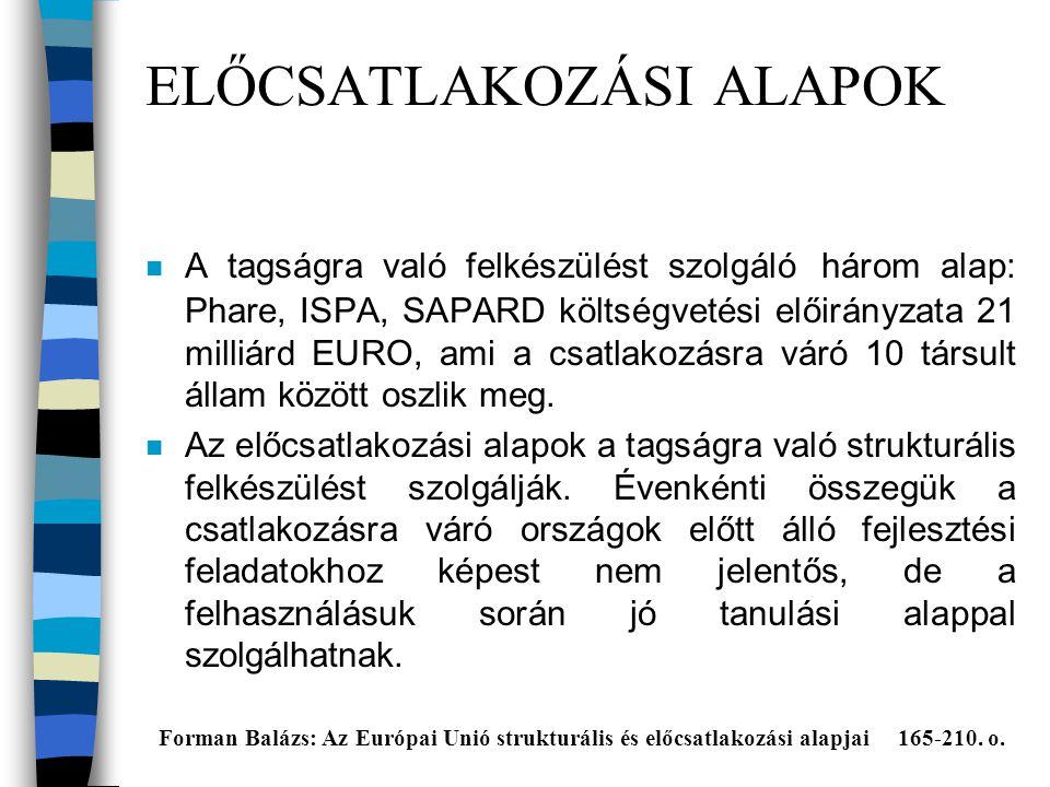 ELŐCSATLAKOZÁSI ALAPOK n A tagságra való felkészülést szolgáló három alap: Phare, ISPA, SAPARD költségvetési előirányzata 21 milliárd EURO, ami a csatlakozásra váró 10 társult állam között oszlik meg.