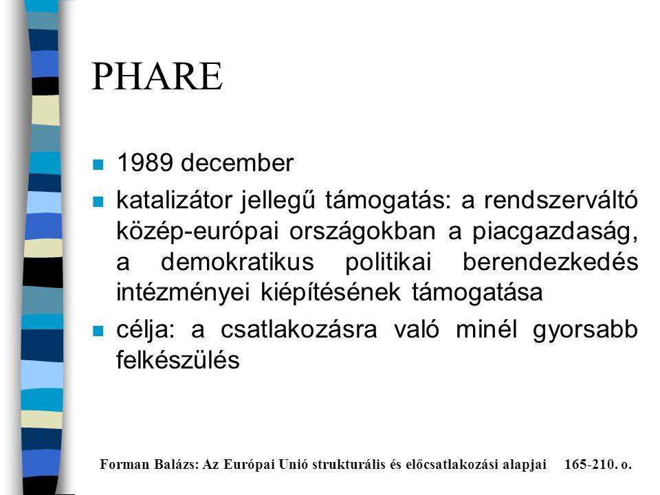PHARE n 1989 december n katalizátor jellegű támogatás: a rendszerváltó közép-európai országokban a piacgazdaság, a demokratikus politikai berendezkedés intézményei kiépítésének támogatása n célja: a csatlakozásra való minél gyorsabb felkészülés Forman Balázs: Az Európai Unió strukturális és előcsatlakozási alapjai 165-210.