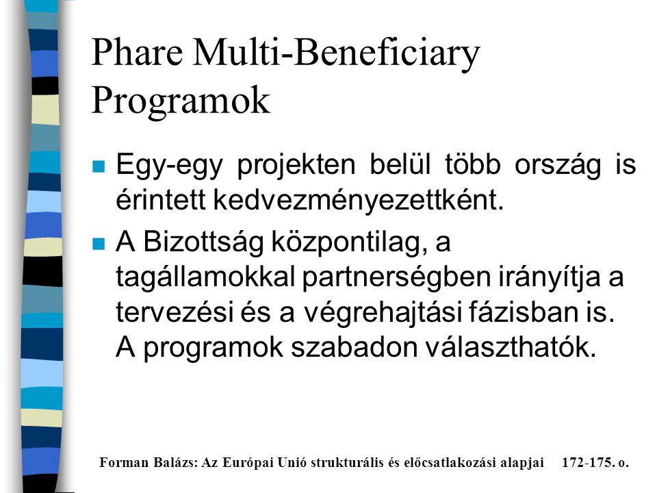 Phare Multi-Beneficiary Programok n Egy-egy projekten belül több ország is érintett kedvezményezettként.
