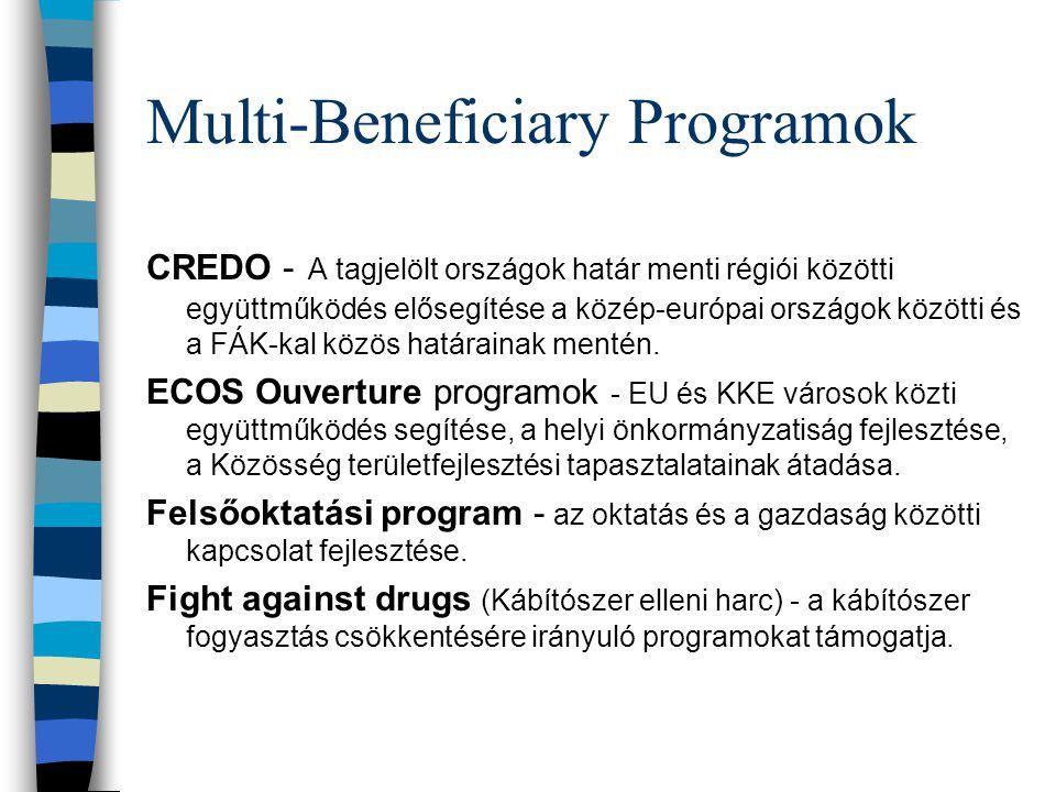 Multi-Beneficiary Programok CREDO - A tagjelölt országok határ menti régiói közötti együttműködés elősegítése a közép-európai országok közötti és a FÁK-kal közös határainak mentén.