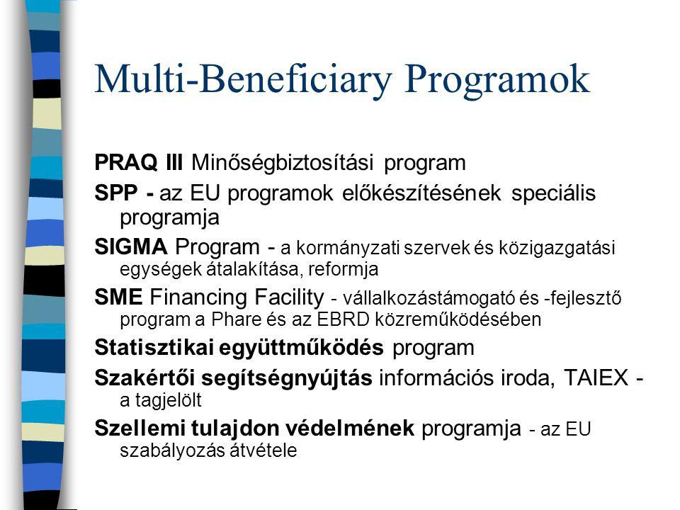 Multi-Beneficiary Programok PRAQ III Minőségbiztosítási program SPP - az EU programok előkészítésének speciális programja SIGMA Program - a kormányzati szervek és közigazgatási egységek átalakítása, reformja SME Financing Facility - vállalkozástámogató és -fejlesztő program a Phare és az EBRD közreműködésében Statisztikai együttműködés program Szakértői segítségnyújtás információs iroda, TAIEX - a tagjelölt Szellemi tulajdon védelmének programja - az EU szabályozás átvétele