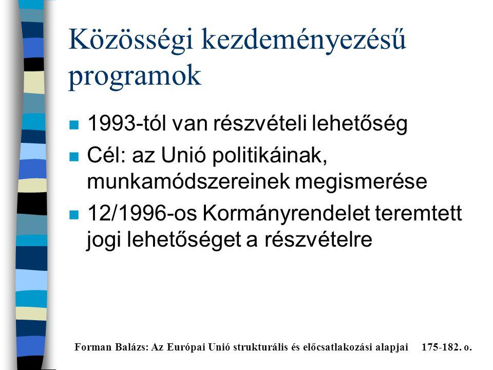 Közösségi kezdeményezésű programok n 1993-tól van részvételi lehetőség n Cél: az Unió politikáinak, munkamódszereinek megismerése n 12/1996-os Kormányrendelet teremtett jogi lehetőséget a részvételre Forman Balázs: Az Európai Unió strukturális és előcsatlakozási alapjai 175-182.