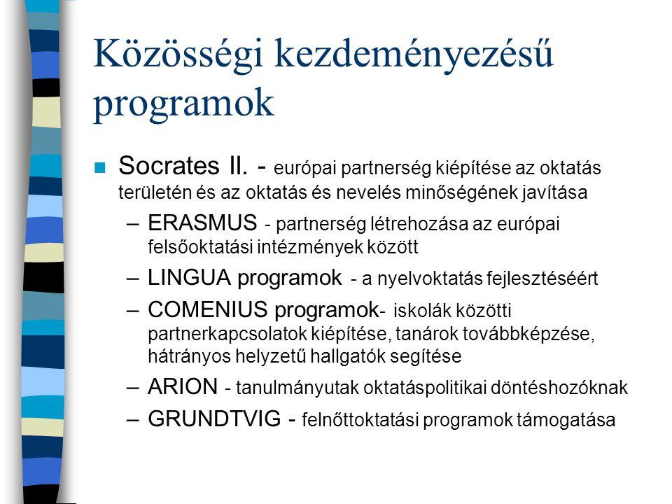 Közösségi kezdeményezésű programok n Socrates II.