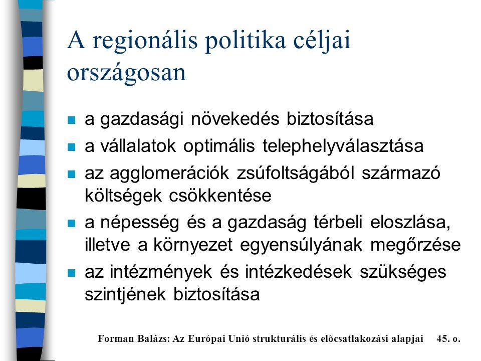 A regionális politika céljai országosan n a gazdasági növekedés biztosítása n a vállalatok optimális telephelyválasztása n az agglomerációk zsúfoltságából származó költségek csökkentése n a népesség és a gazdaság térbeli eloszlása, illetve a környezet egyensúlyának megőrzése n az intézmények és intézkedések szükséges szintjének biztosítása Forman Balázs: Az Európai Unió strukturális és elõcsatlakozási alapjai 45.