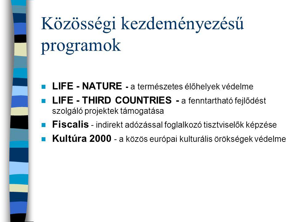 Közösségi kezdeményezésű programok n LIFE - NATURE - a természetes élőhelyek védelme n LIFE - THIRD COUNTRIES - a fenntartható fejlődést szolgáló projektek támogatása n Fiscalis - indirekt adózással foglalkozó tisztviselők képzése n Kultúra 2000 - a közös európai kulturális örökségek védelme