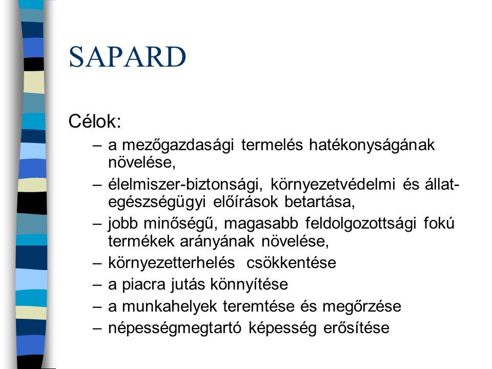 SAPARD Célok: –a mezőgazdasági termelés hatékonyságának növelése, –élelmiszer-biztonsági, környezetvédelmi és állat- egészségügyi előírások betartása, –jobb minőségű, magasabb feldolgozottsági fokú termékek arányának növelése, –környezetterhelés csökkentése –a piacra jutás könnyítése –a munkahelyek teremtése és megőrzése –népességmegtartó képesség erősítése