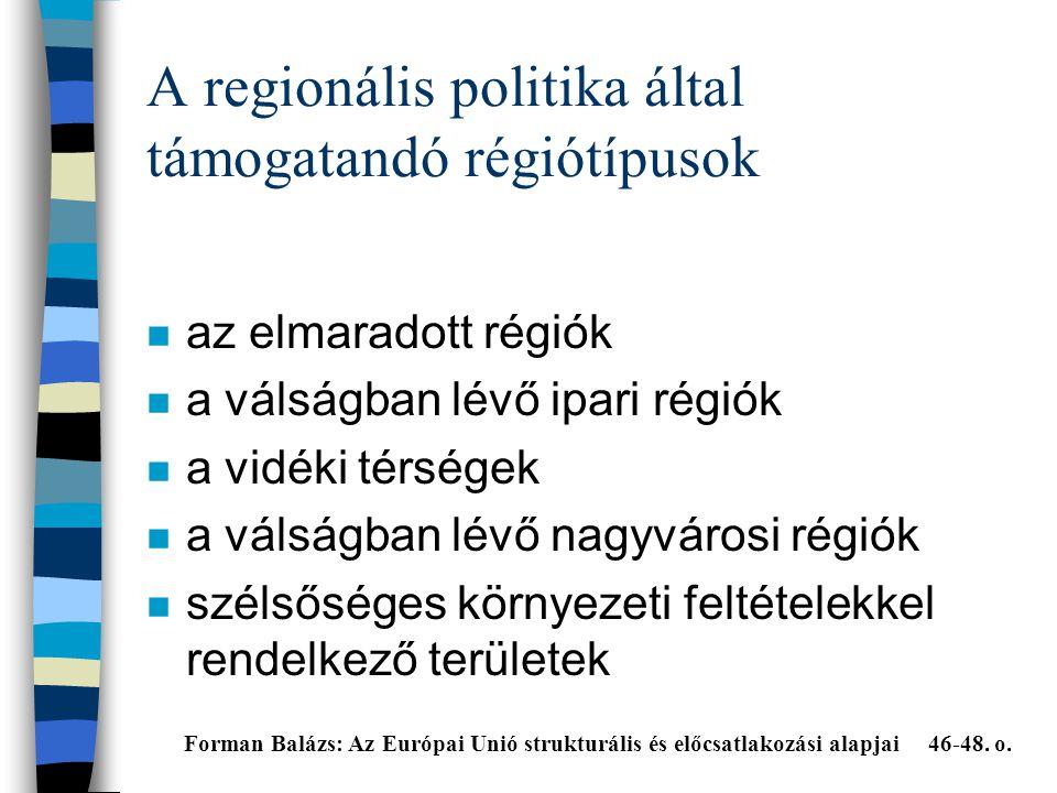 A regionális politika által támogatandó régiótípusok n az elmaradott régiók n a válságban lévő ipari régiók n a vidéki térségek n a válságban lévő nagyvárosi régiók n szélsőséges környezeti feltételekkel rendelkező területek Forman Balázs: Az Európai Unió strukturális és előcsatlakozási alapjai 46-48.
