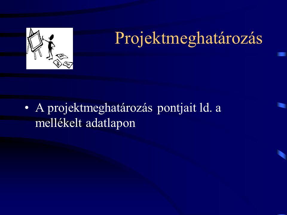 Projektmeghatározás A projektmeghatározás pontjait ld. a mellékelt adatlapon