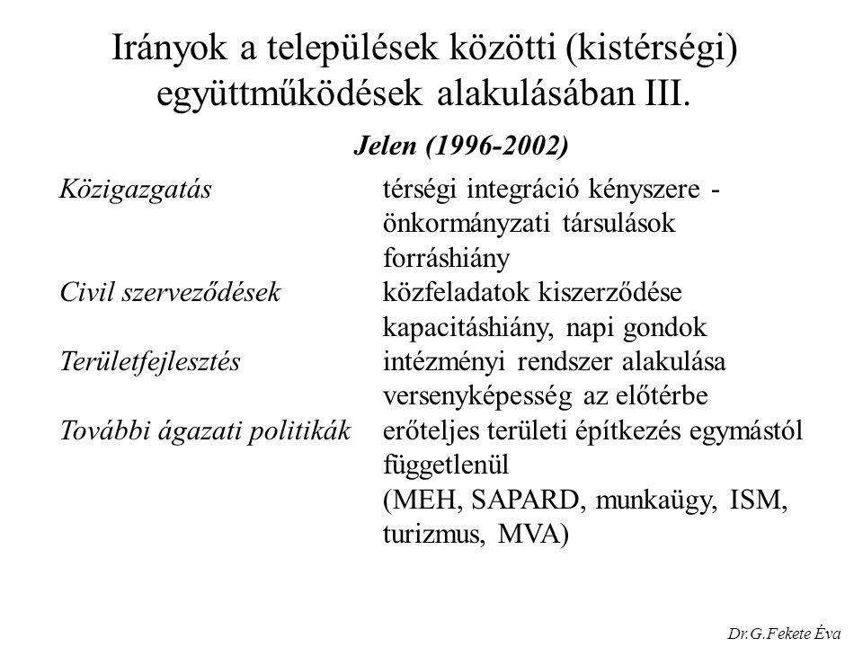 Irányok a települések közötti (kistérségi) együttműködések alakulásában III.