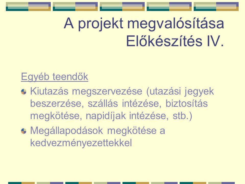 A projekt megvalósítása Előkészítés IV. Egyéb teendők Kiutazás megszervezése (utazási jegyek beszerzése, szállás intézése, biztosítás megkötése, napid