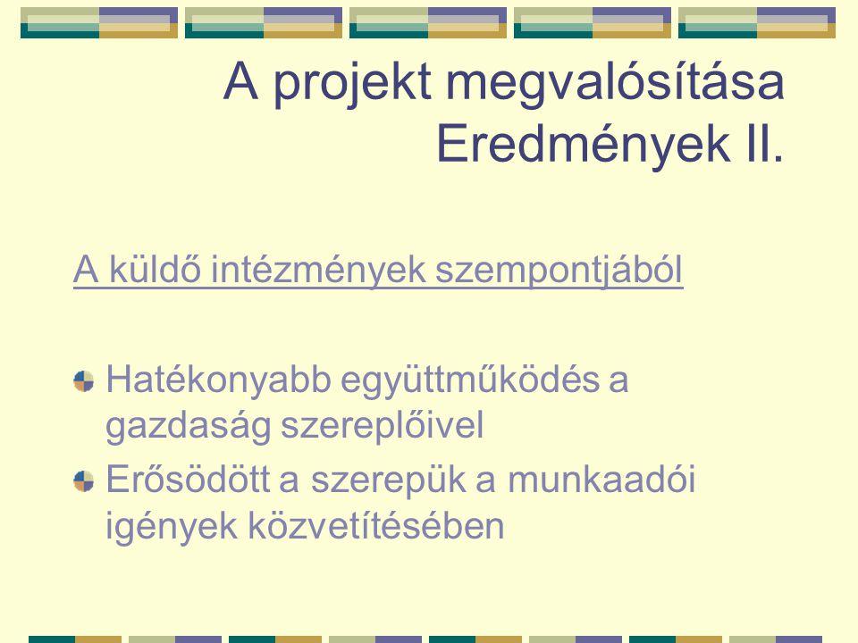 A projekt megvalósítása Eredmények II. A küldő intézmények szempontjából Hatékonyabb együttműködés a gazdaság szereplőivel Erősödött a szerepük a munk