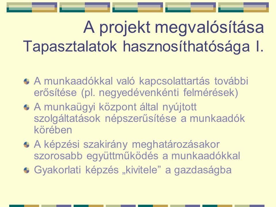 A projekt megvalósítása Tapasztalatok hasznosíthatósága I.