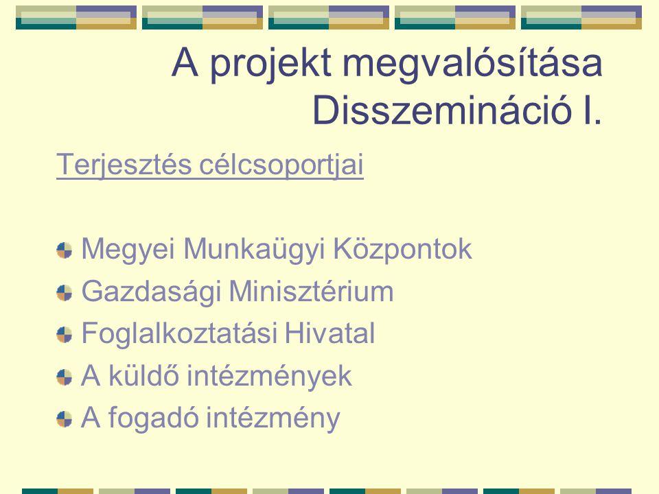 A projekt megvalósítása Disszemináció I. Terjesztés célcsoportjai Megyei Munkaügyi Központok Gazdasági Minisztérium Foglalkoztatási Hivatal A küldő in