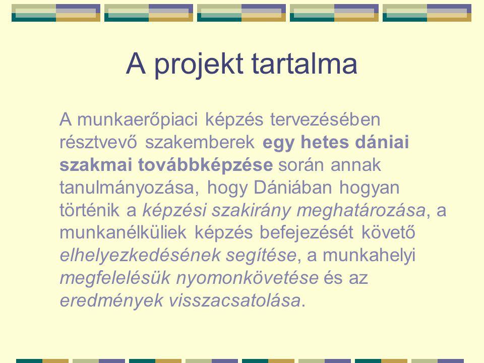A projekt tartalma A munkaerőpiaci képzés tervezésében résztvevő szakemberek egy hetes dániai szakmai továbbképzése során annak tanulmányozása, hogy D