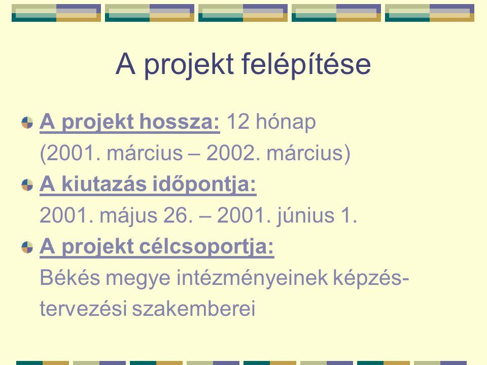 A projekt felépítése A projekt hossza: 12 hónap (2001. március – 2002. március) A kiutazás időpontja: 2001. május 26. – 2001. június 1. A projekt célc